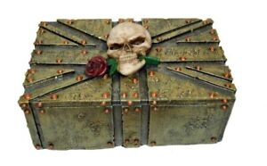 SKULL TRINKET BOX - Skull With Rose on Union Jack - Stunning Detail!