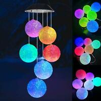 Hanging Solar Lights Outdoor Garden Wind Chimes Lights LED Spiral Spinner Lamp