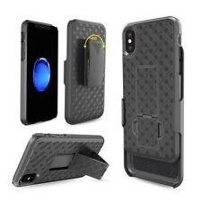 For iPhone X Slim Shell Holster Black Combo Case Belt Clip Kickstand Shockproof