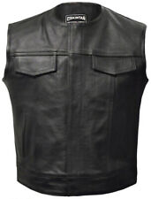 Mens Leather Motorcycle Biker Waistcoat Black OPIE Anarchy Gilet Vest Cut Off