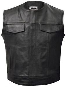 Mens Leather Motorcycle Biker Waistcoat Black OPIE Anarchy Gilet Vest Cut Off