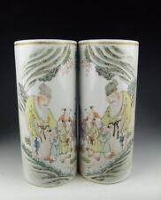 China Antique Pair of QianJiangCai Longevity God Porcelain Vases