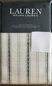 Ralph Lauren Taylor Stripe King Pillowcases Pair Cream & Charcoal NEW $170