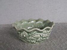Ivy Vine Floral Ceramic Bowl Planter Round Dark Green Gloss Crackle glaze