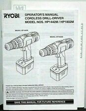 Genuine Ryobi Drill Driver Operator's Manual Only Model # HP1442M HP1802M Owner
