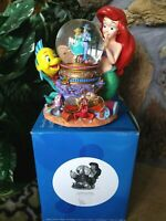 LITTLE MERMAID ARIEL,FLOUNDER,SEBASTIAN DISNEY STORE MUSICAL SNOW GLOBE,NEW,MINT