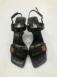 Gianni Versace Heels Size UK 6 Black 90s Square Toe Strappy Leather 029012