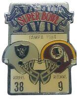 Vintage Starline Super Bowl 18 XVIII Pin 1984 Tampa Raiders 38 Redskins 9