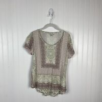 Lucky Brand Top Small Multicolor Floral Short Sleeve Casual Boho Spring