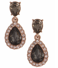 Givenchy Rose Gold Tone Brown Crystal Stone Small Drop Earrings