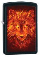 Zippo Lighter: Fiery Wolf - Black Matte 80829