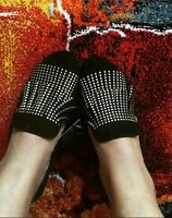 ZARA Black Flat Leather Shoes With Small Studs UK 5 Euro 38