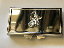 Witch Face TG13 Pewter On Mirrored 7 Day Pill box Compact