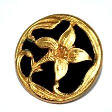 Bouton ancien art nouveau doré fleur iris velours noir 17mm button