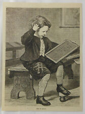 1878 magazine engraving ~ TRY IT AGAIN ~ Little Boy At School