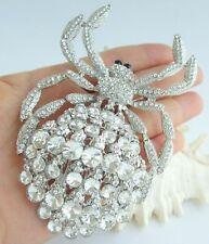 """Unique 4.33"""" Large Spider Brooch Pin Pendant Clear Austrian Crystal 04792C4"""