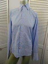 Mens THOMAS PINK LONDON French Cuff Dress Shirt BLUE & WHITE Stripe15.5 Pointed