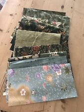 JAPANESE PRINT FABRIC QUARTER YARD CUTS GREEN LOT OF 11