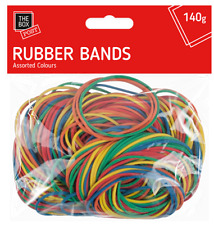 250pcs STRONG ELASTIC RUBBER BANDS Assorted Colours For Home School Office 140g