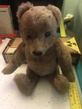 "Very Old Vintage Antique Gold Mohair 12"" Jointed Humpback Glass Eyes Teddy Bear"