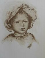 Auguste RENOIR (d'après) : Renoir enfant - LITHOGRAPHIE  #MOURLOT #1951
