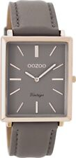 Genuine OOZOO 37x31mm Rectangle Rose Gold Watch With Taupe Strap C8188