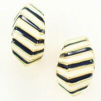 VINTAGE JOAN RIVERS Navy Blue White Striped Enamel Semi Hoop CLIP ON EARRINGS