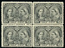 Canada Scott#50 1/2c Jubilee Block Bottom Are Mint Nh & Top 2 Stamps Are Hinged