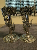 VINTAGE PAIR METAL TAPER CANDLE HOLDERS WITH ENTWINED 3 D GRAPES AND LEAVES