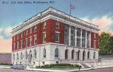 U.S. Post Office Washington, North Carolina NC --- Old Vintage Linen Postcard