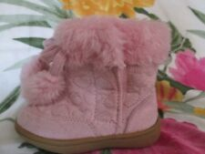 GIRLS SZ. 5 FADED GLORY PINK BOOT YULIEN FABRIC UPPER FAUX FUR NWT VERY CUTE!!