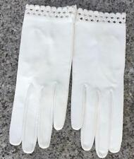 Vintage Ladies Kidskin Leather Wrist Gloves White Cutout Detail At Wrist Small