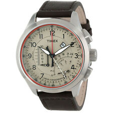 Timex Men's Iq T2P275 Brown Leather Strap Analog Quartz Watch with Brown Dial