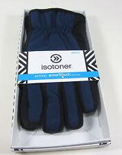 New Men's Blue and Black Isotoner Active Gloves Size Large