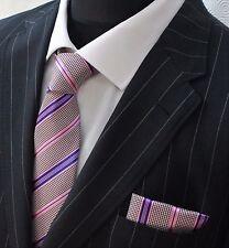 Tie Neck tie with Handkerchief Check with Pink & Purple stripe
