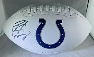 PEYTON MANNING / AUTOGRAPHED INDIANAPOLIS COLTS WHITE FOOTBALL / MANNING HOLO