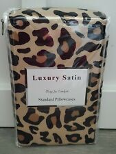 Luxury Satin Leopard Print Brown Black Standard Pillowcases Set Of 2 NEW