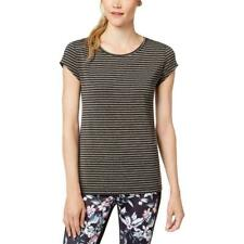 Ideology Womens Large Gray Striped Cut Out Short Sleeves T Shirt NEW