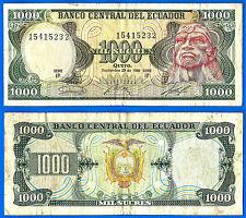 Ecuador 1000 Sucres 1986 Serie IS Ruminah Emblem Aigle Free Shiping Worldwide