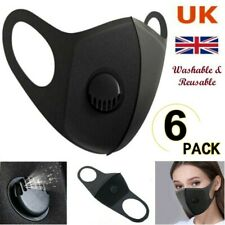 6x Face Mask Protective Covering Mouth Masks Washable Reusable Black Filter UK