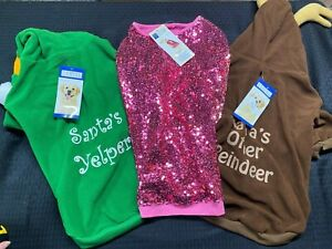 Casual Canine lot 3 Dog Winter Elf Rein Deer Hoodie, Pink Sparkle LG NWT 20 In