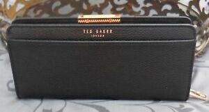 Ted Baker~ London Jade Sunken Zip Matinee Leather RFID Wallet ~BLACK~NWT~$149
