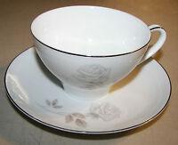 """Noritake Rosay 6216 Flat Cup (2 3/8"""") & Saucer (6"""") Set White Rose Platinum Trim"""