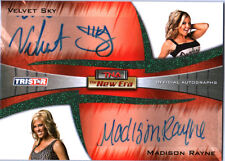 TNA Velvet Sky & Madison Rayne 2010 New Era GREEN Dual Autograph Card SN 16 / 25
