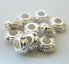 75pcs 3x6.5mm Metal Alloy Floral Rondelle Spacers - Bright Silver
