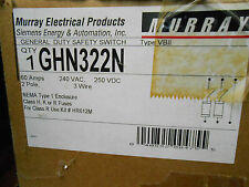 MURRAY GHN322N SAFETY SWITCH 60 AMP 240 VOLT 2P 3W FUSIBLE N1 DISCONNECT