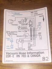 1987 toyota pickup truck/4runner vacuum diagram decal repro sticker fed 22re  82