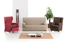 Funda de sofa elastica  marron para relax, orejero, sillones, sillas Arion