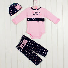 3pcs Girl Baby Kids Toddler Cap Hat+Romper+Pants Trousers Set Clothing 3-6M Sets