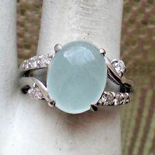 Vintage Platinum Pt 900 0.22 CT Diamond Genuine Aquamarine Cabochon Ring 7.5 g.